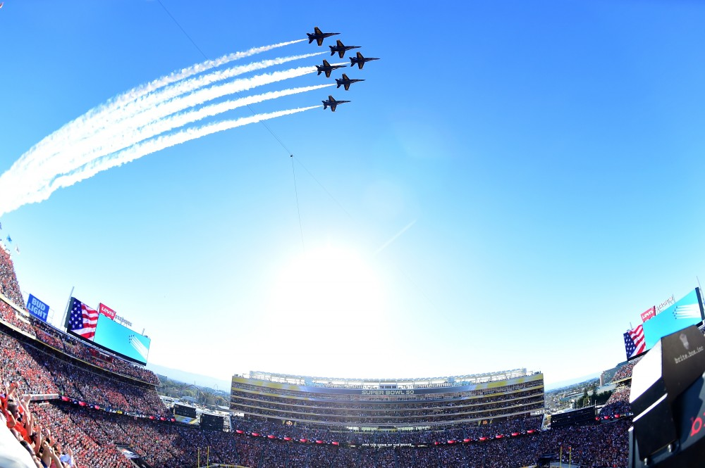 SANTA CLARA, CA - FEBRUARY 07:  The Blue Angels perform a fly-over prior to Super Bowl 50 between the Denver Broncos and the Carolina Panthers at Levi's Stadium on February 7, 2016 in Santa Clara, California.  (Photo by Harry How/Getty Images)