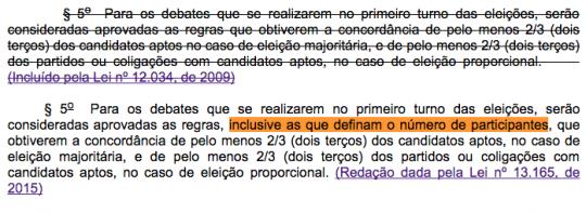 Mudanças na lei eleitoral permitem que os candidatos de partidos maiores definam o número de participantes de um debate.