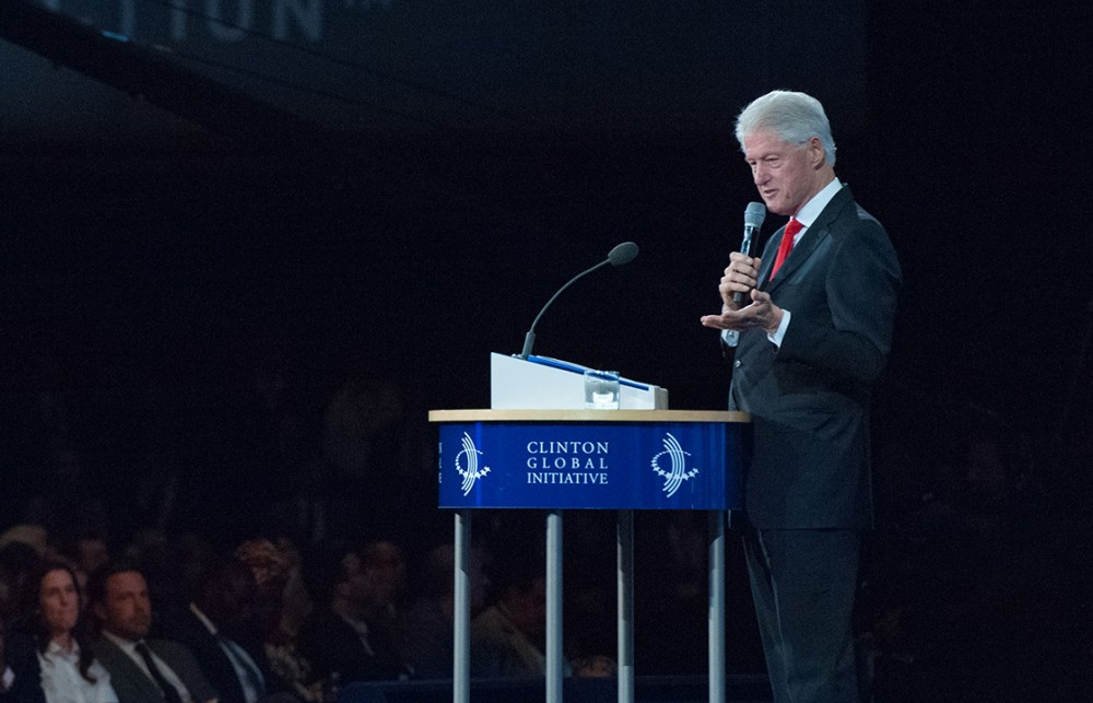 NEW YORK, NY - SEPTEMBER 21:  Former U.S. President Bill Clinton delivers a speech during the annual Clinton Global Initiative on September 21, 2016 in New York City. Clinton defended the foundation, founded in 2005, at the final CGI meeting. (Photo by Stephanie Keith/Getty Images)