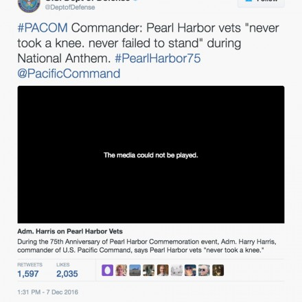 Pentagon Slams Colin Kaepernick in Pearl Harbor Tweet, Then Deletes It