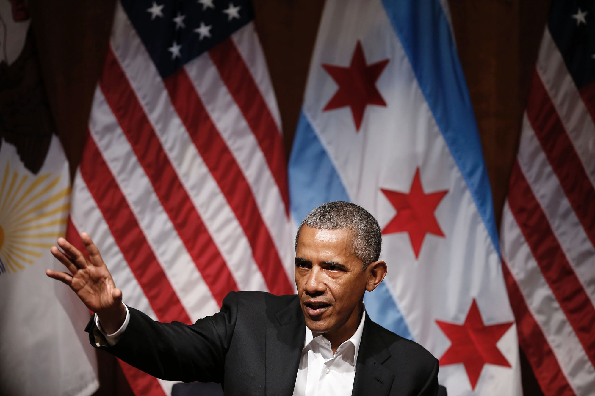 Former US President Barack Obama speaks at a forum with young leaders to discuss community organizing at the University of Chicago in Chicago,Illinois on April 24, 2017. / AFP PHOTO / JIM YOUNG        (Photo credit should read JIM YOUNG/AFP/Getty Images)