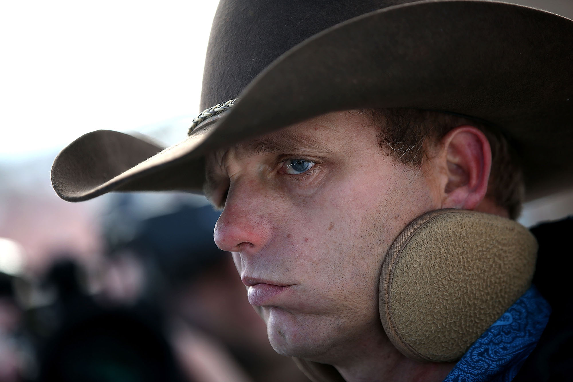BURNS, OR - JANUARY 06:  Ryan Bundy, a member of an anti-government militia, speaks to members of the media in front of the Malheur National Wildlife Refuge Headquarters on January 6, 2016 near Burns, Oregon.  An armed anti-government militia group continues to occupy the Malheur National Wildlife Headquarters as they protest the jailing  of two ranchers for arson.  (Photo by Justin Sullivan/Getty Images)