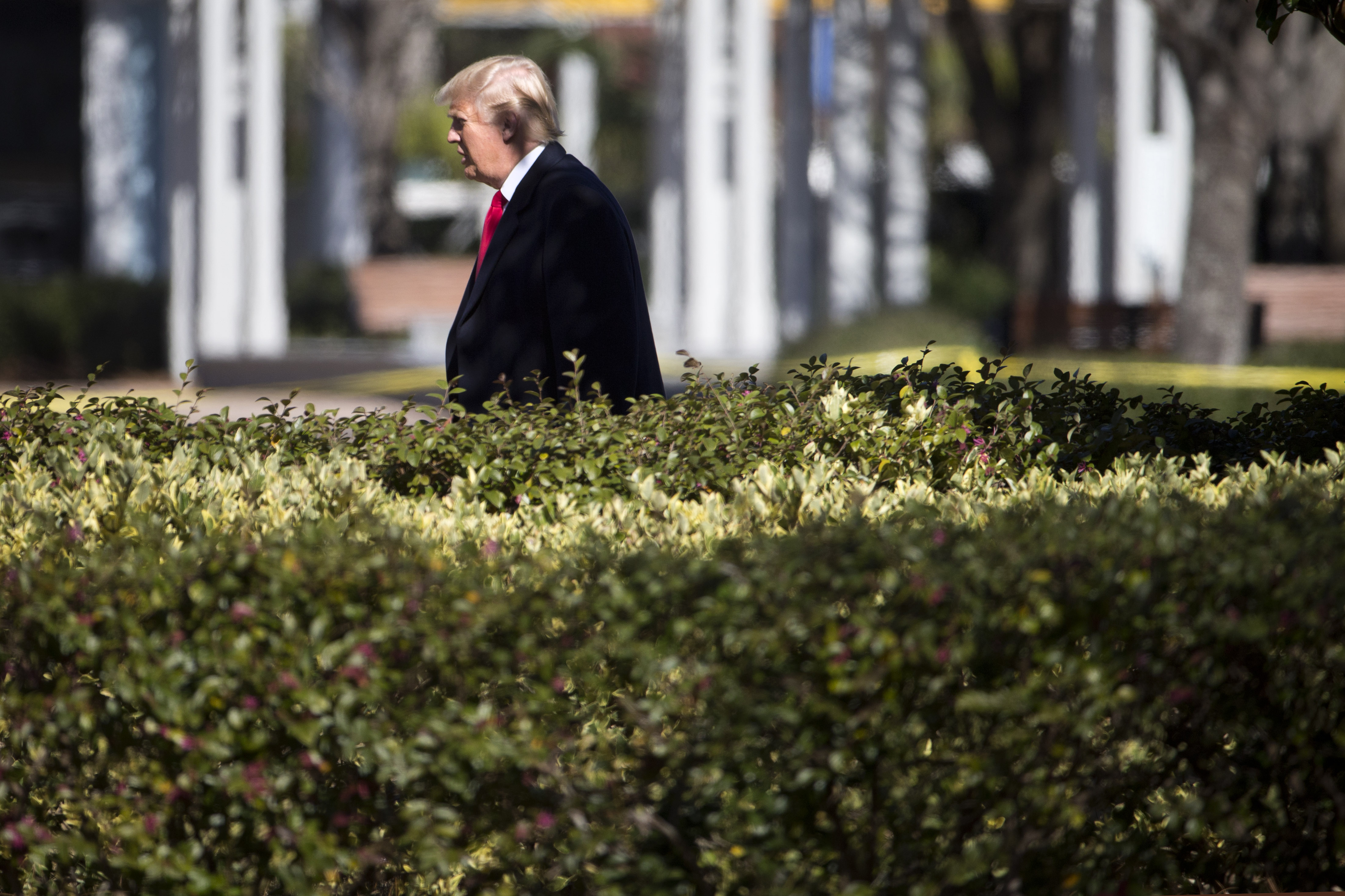 Republican presidential candidate Donald Trump walks from a campaign stop Wednesday, Feb. 17, 2016, in Bluffton, S.C. (AP Photo/Matt Rourke)