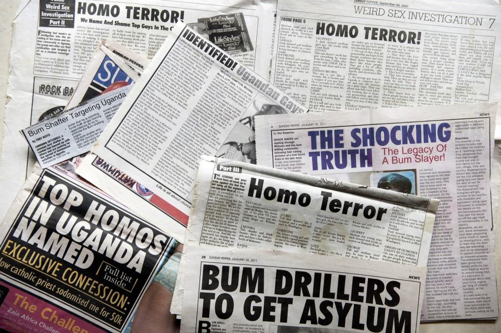 Articles and headlines in Ugandan tabloid newspaper Red Pepper, Kampala, Uganda, November 2012.