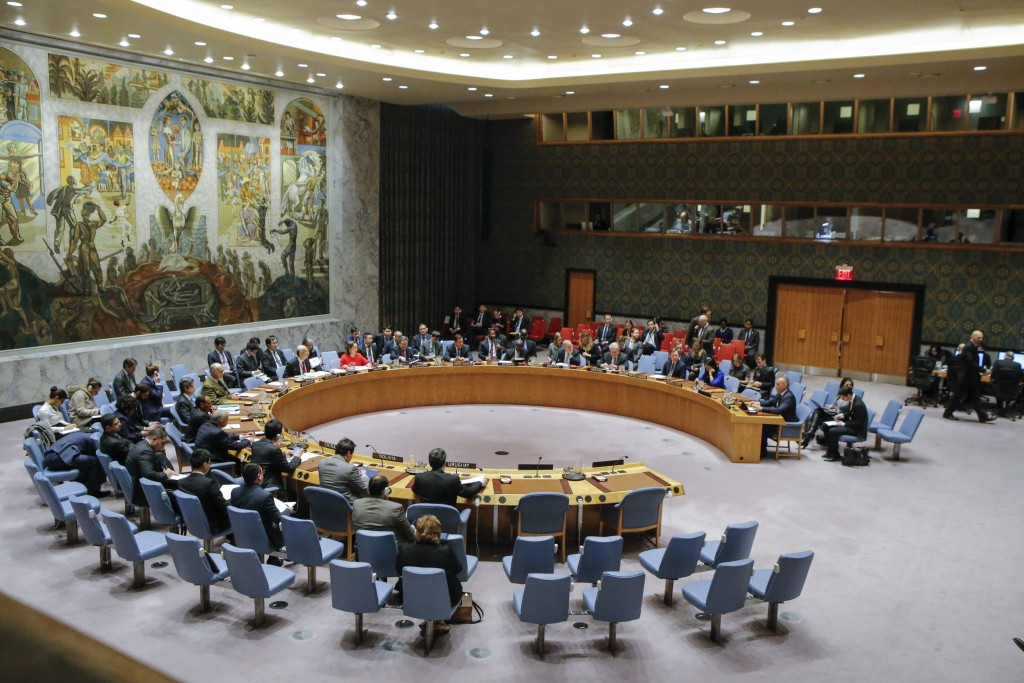 General view of the UN Security Council room during a meeting over the situation in the Middle East on December 18, 2017, at UN Headquarters in New York.<br /> The UN Security Council is to vote on a draft resolution rejecting US President Donald Trump's recognition of Jerusalem as the capital of Israel. / AFP PHOTO / KENA BETANCUR        (Photo credit should read KENA BETANCUR/AFP/Getty Images)