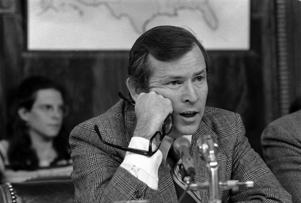 Senator Howard Baker, R-Tenn., Vice Chairman of the Senate Watergate Investigating Committee, questions witness James McCord during hearing in Washington D.C. on May 18, 1973.  (AP Photo)