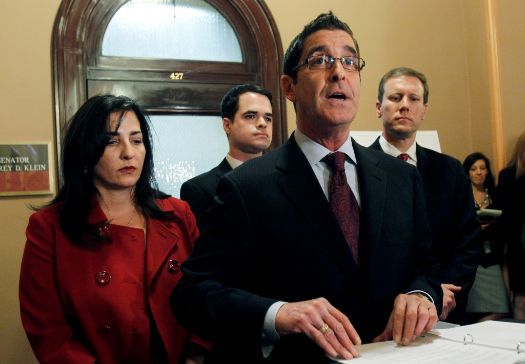 Sen. Jeffrey Klein, D-Bronx, speaks during a news conference at the Capitol where he announced that he and three other Democratic senators were forming an independent Democratic conference, in Albany, N.Y., Wednesday, Jan. 5, 2011. Joining Klein, from left, are Sen. Diane Savino, Sen. David Carlucci and Sen. David Valesky. (AP Photo/Mike Groll)