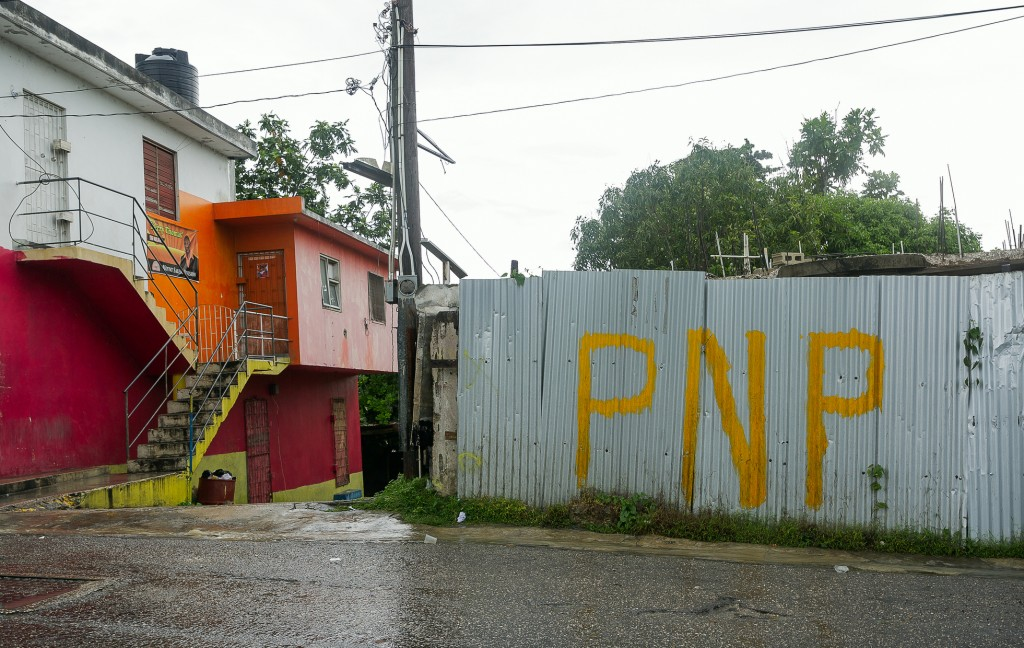 Graffiti representing the People's National Party (PNP) in Mount Salem, Montego Bay, Jamaica on May 18, 2018.