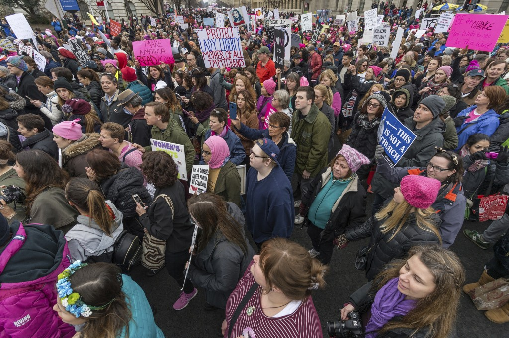 """Hundreds of thousands of activists from across the United States and abroad took to the streets of Washington, D.C., participating in the """"Women's March"""" on the day following the inauguration of President Donald Trump, on January 21, 2017. (Photo by Albin Lohr-Jones) *** Please Use Credit from Credit Field ***(Sipa via AP Images)"""