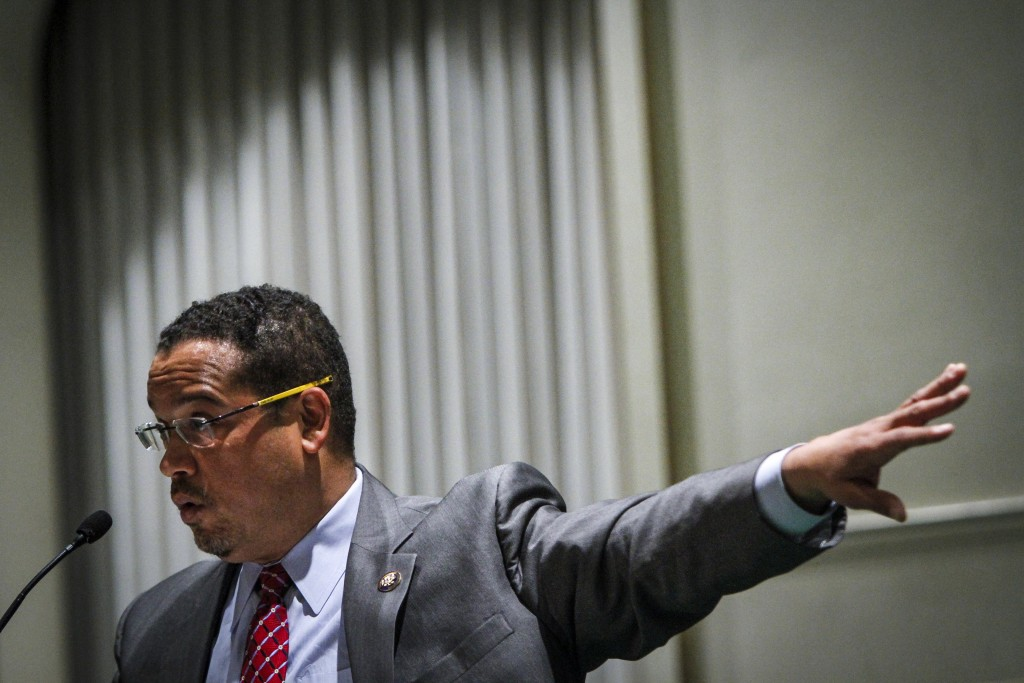DETROIT, MI - DECEMBER 22:  U.S. Rep. Keith Ellison (D-MN) holds a town hall meeting at the Church of the New Covenant-Baptist on December 22, 2016 in Detroit, Michigan. Ellison, a candidate to lead the Democratic National Committee, spoke at the church where his brother Brian is a pastor.  (Photo by Sarah Rice/Getty Images)