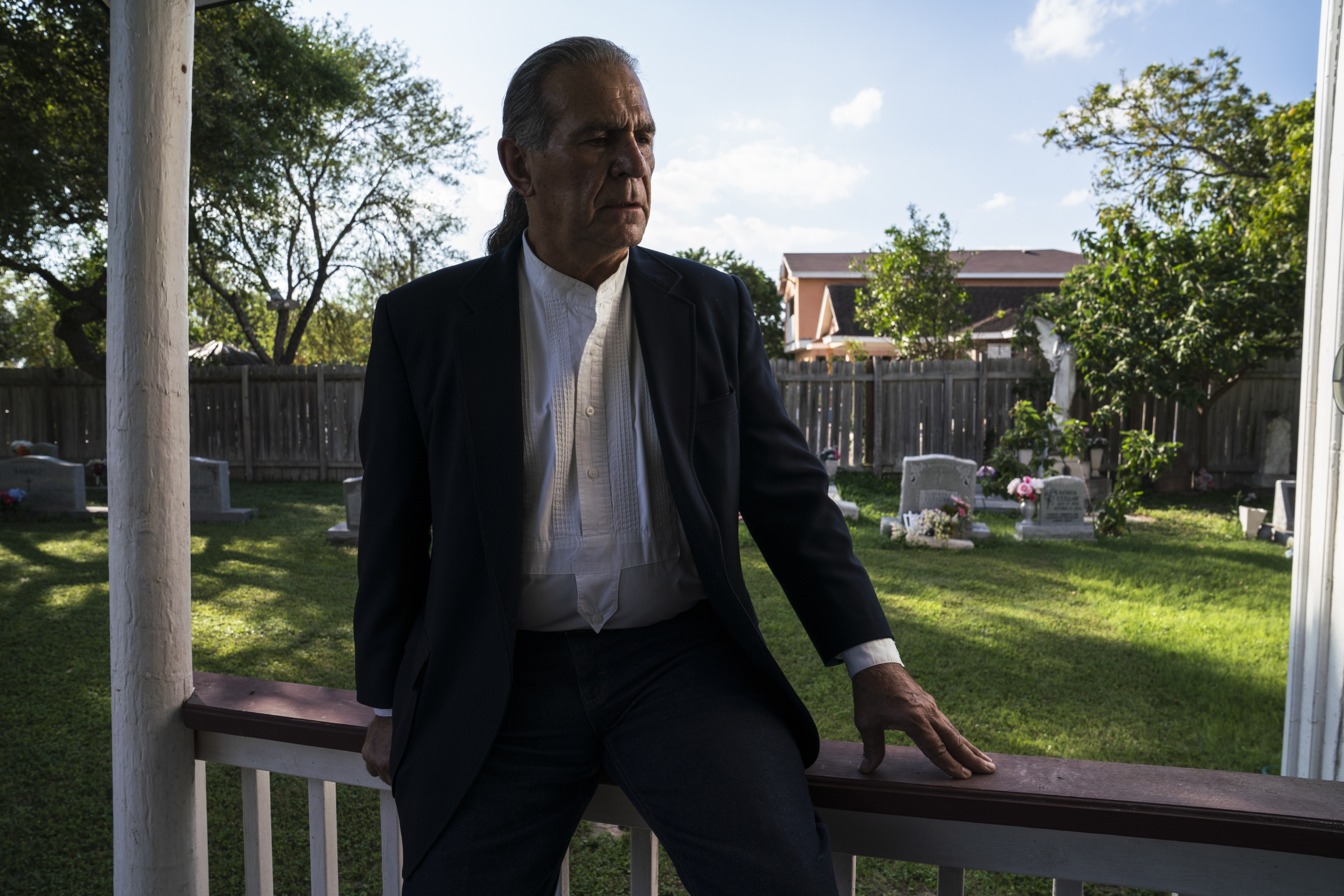 Ramiro Roberto Ramírez, 70, sits in front of the Martin Jackson Church and Cemetery in San Juan, Tex. on Nov. 6, 2018. The church was built by his great-great grandfather in the late 1800s. The new proposed wall would leave this property on the south side of it.Photo: Verónica G. Cárdenas for The Intercept