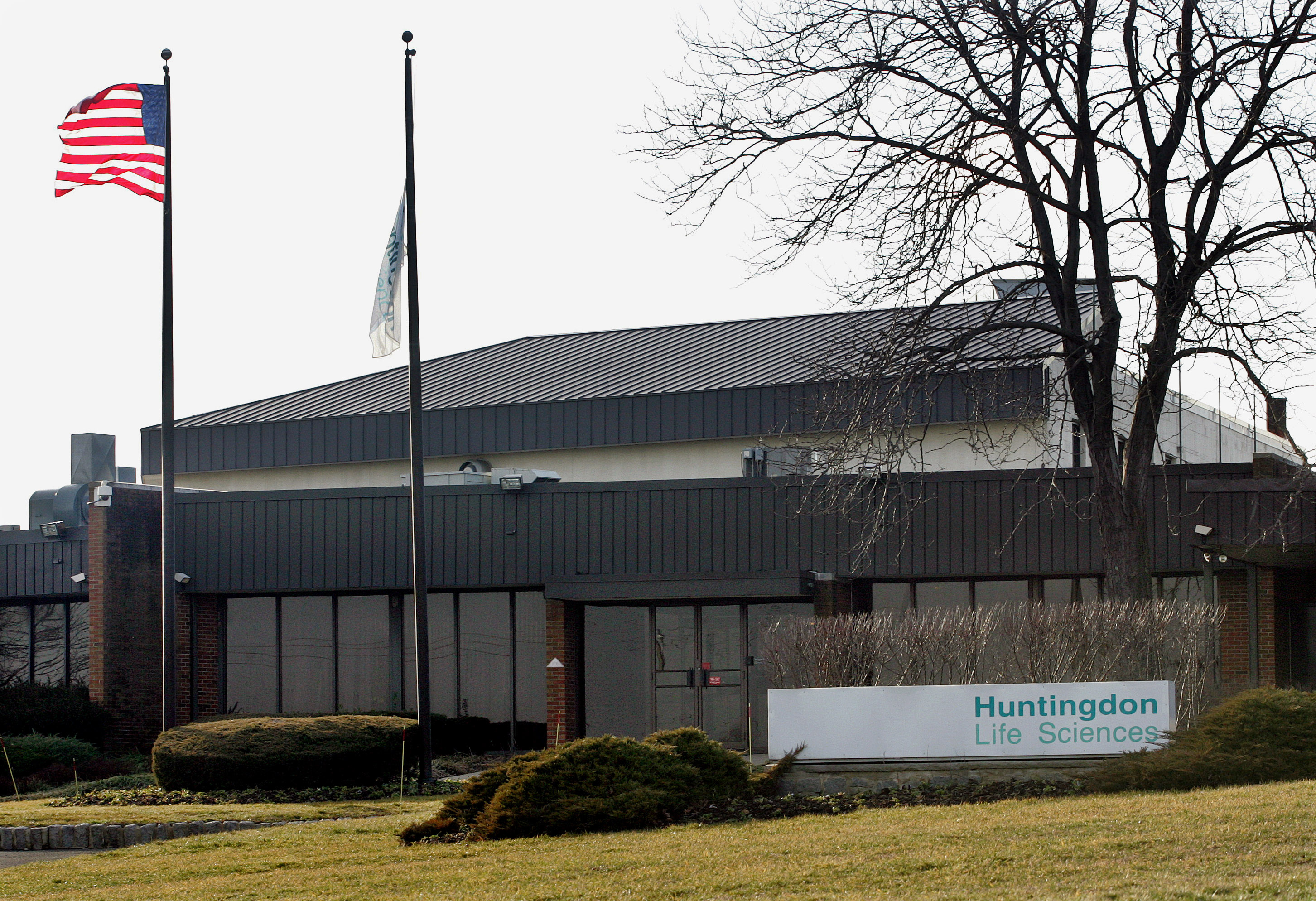 **ADVANCE FOR MONDAY, FEB. 6, 2006**Huntington Life Sciences in East Millstone, N.J., can be seen Friday, Feb. 3, 2006. Seven members of the Philadelphia-based group, Stop Huntingdon Animal Cruelty, which goes by the acronym SHAC, were arrested in May 2004 and charged with animal enterprise terrorism, conspiracy and interstate stalking, part of a plan to drive Huntingdon Life Sciences out of business. Charges against one of the defendants were dropped; the other six are to stand trial in Superior Court, where jury selection begins on Monday.  (AP Photo/Mel Evans)