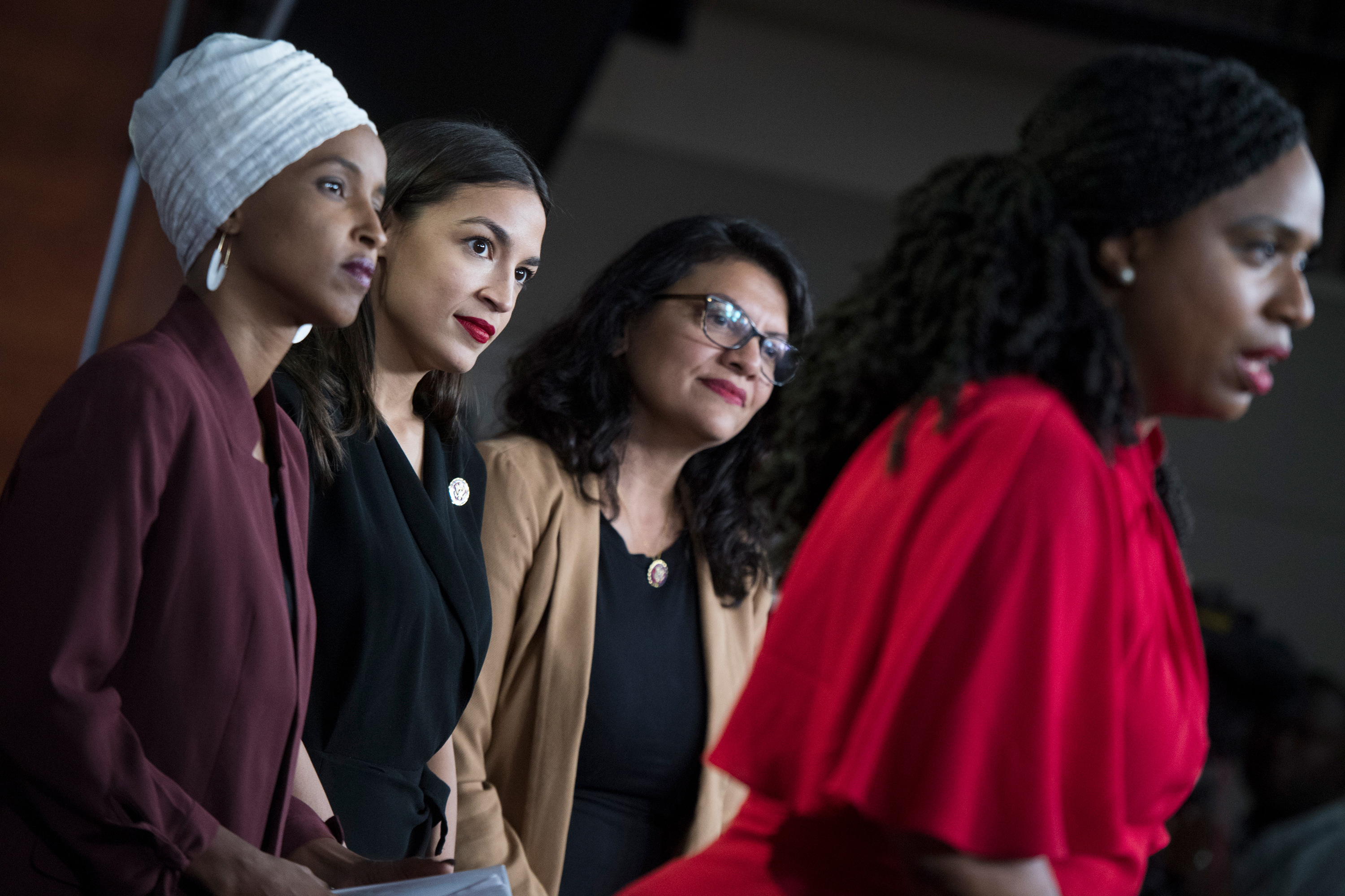 From left, Reps. Ilhan Omar, D-Minn., Alexandria Ocasio-Cortez, D-N.Y., Rashida Tlaib, D-Mich., and Ayanna Pressley, D-Mass., conduct a news conference in the Capitol Visitor Center responding to negative comments by President Trump that were directed at the freshman House Democrats on Monday, July 15, 2019. (Photo By Tom Williams/CQ Roll Call via AP Images)