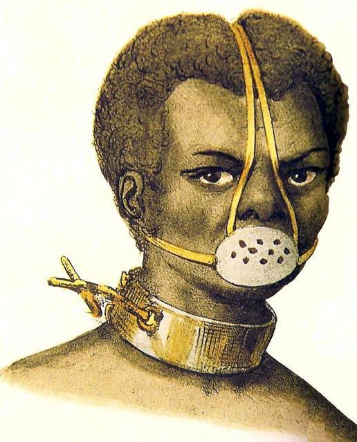 Gravura mostrando um escravizado com ferros no pescoço e máscara de flandres.