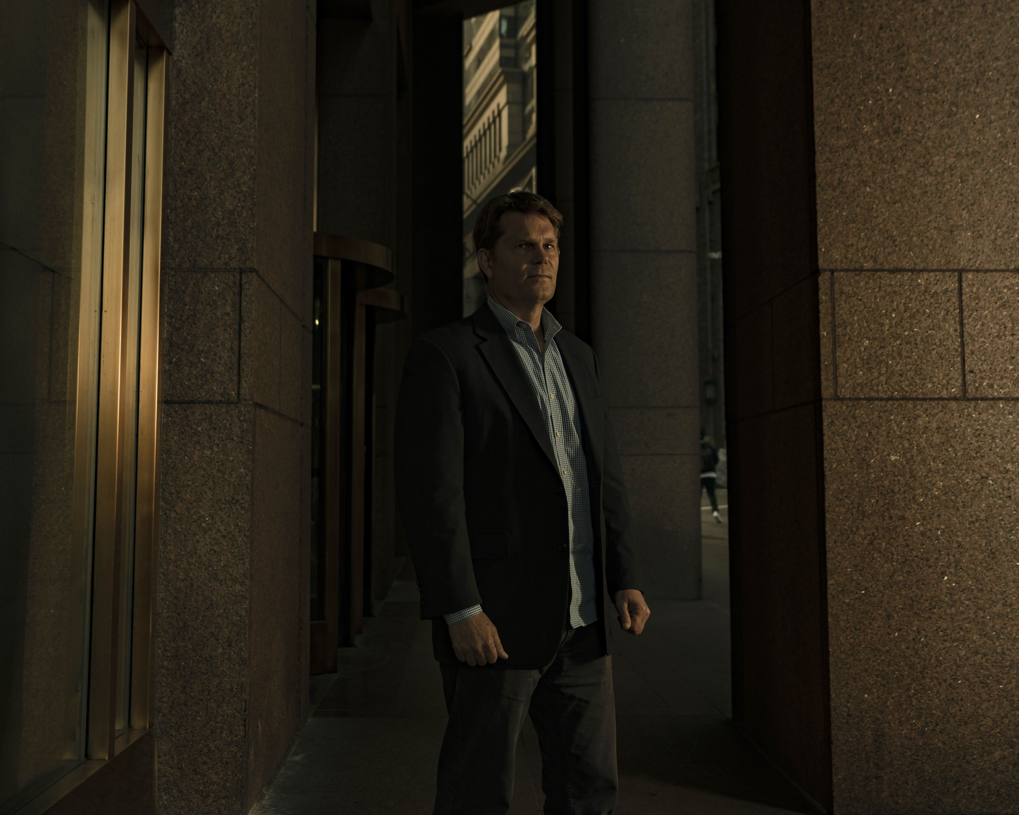 Former FBI agent and Michael German photographed near Wall Street downtown Manhattan on September 13, 2019. Sasha Maslov for the Intercept