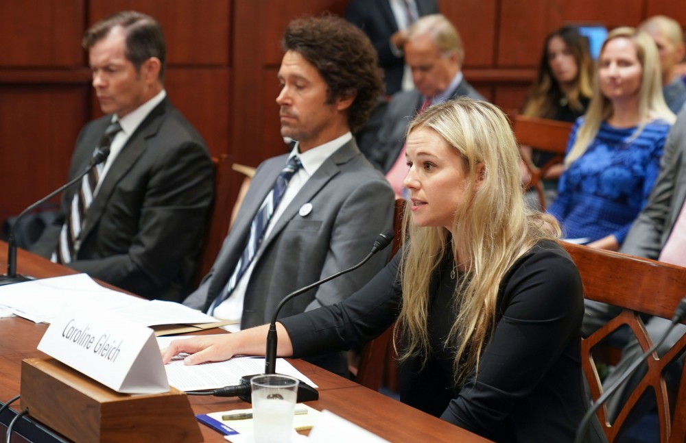 Caroline Gleich testifies before the Democrats Special Committee on the Climate Crisis during Pro Athletes Join Protect Our Winters Action Fund In Urging Congress To Act On Climate Climate, Public Lands at the U.S. Capitol on September 12, 2019 in Washington, DC.  (Photo by Leigh Vogel/Getty Images)