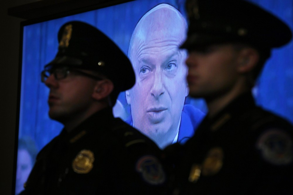 WASHINGTON, DC - DECEMBER 04: A video clip of .S. Ambassador to the European Union, Gordon Sondland is played during a House Judiciary Committee Impeachment Inquiry hearing at the Longworth House Office Building on Wednesday December 04, 2019 in Washington, DC. (Photo by Matt McClain/The Washington Post via Getty Images)