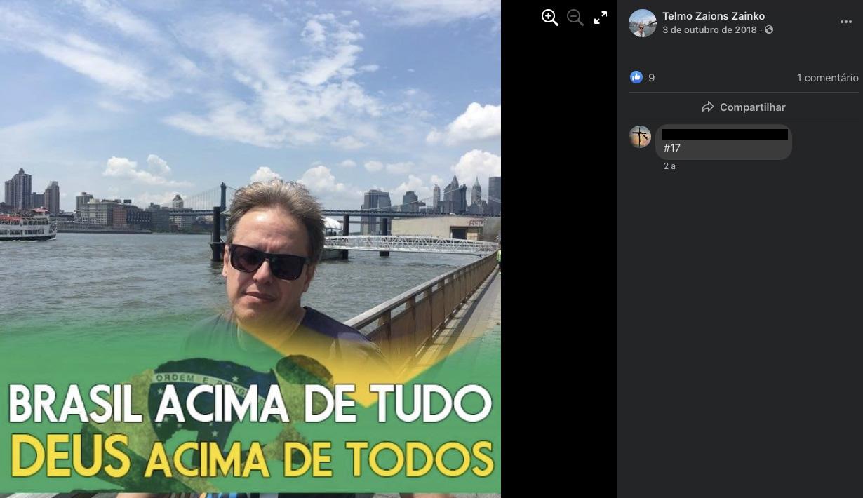 """Postagem de outubro de 2018 do Facebook do juiz Telmo Zaions Zainko: ele condenou o jornal Zero Hora a indenizar Januário Paludo por """"danos morais""""."""