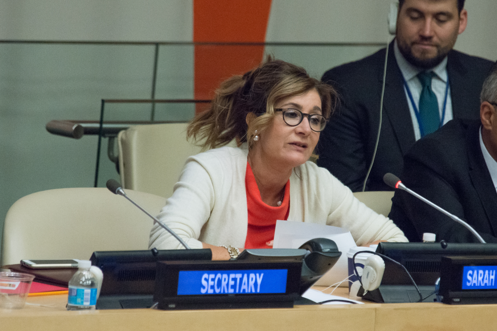 Sarah Leah Whitson from Human Rights Watch offers her report at UN headquarters in New York, NY, on April 27, 2016.
