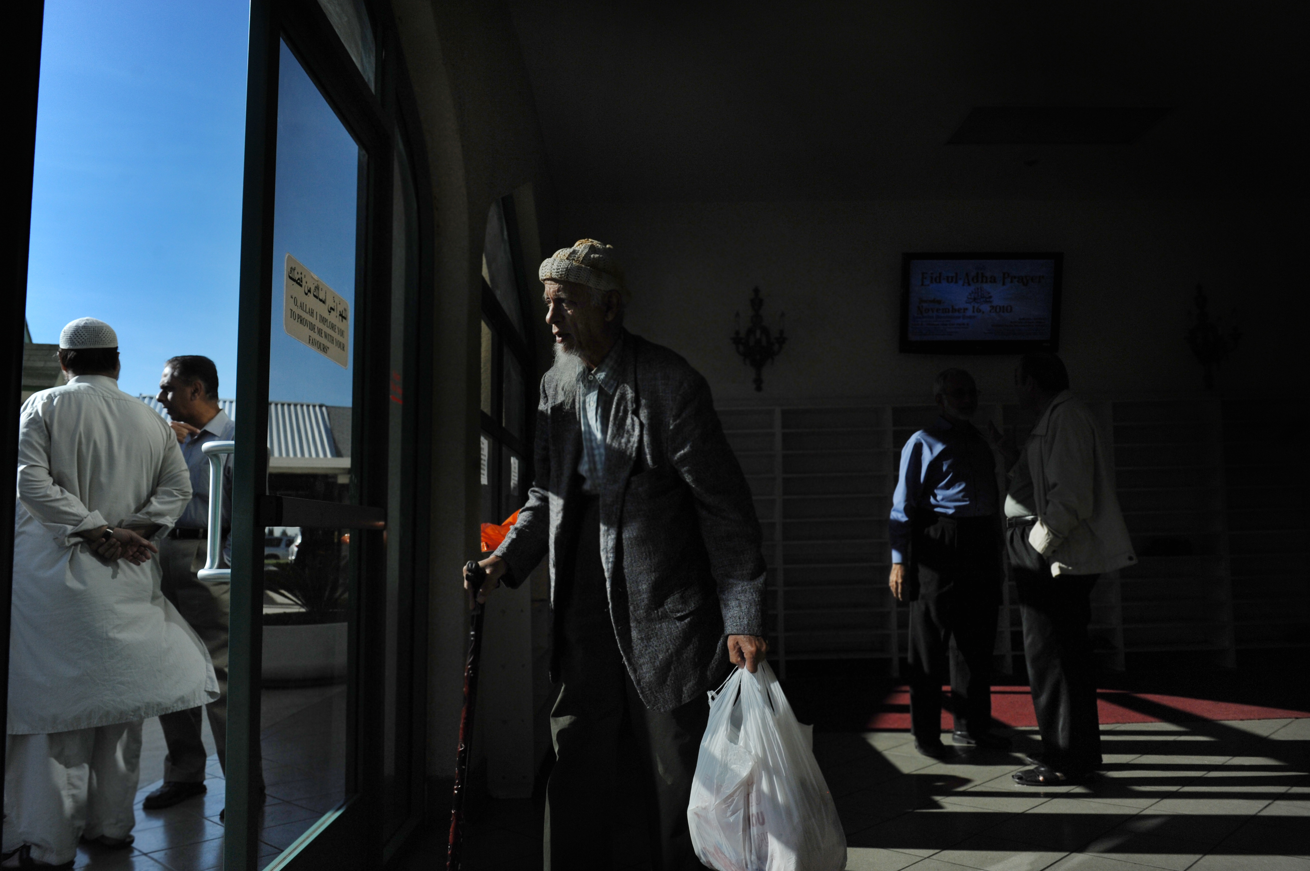 Mohammed Ali, 85, leaves the Garden Grove mosque on November 14, 2010, in Garden Grove, CA.  There is growing tension between the Muslim community of southern California and the FBI after an informant, Craig Monteilh, infiltrated local mosques to gather information only a month after local FBI leaders told the leaders of the Muslim community that the FBI would do no such thing.  Now, Monteilh is suing the FBI over their treatment of him and he's telling details of his operation. (Photo by Jahi Chikwendiu/The Washington Post via Getty Images)