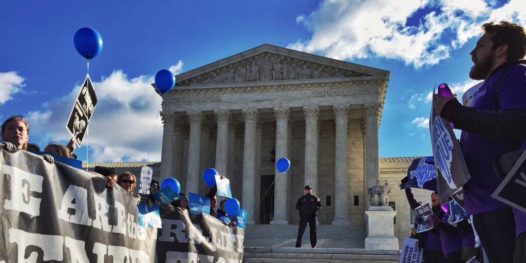 Pro-choice advocates, right, face off against anti-abortion supporters during a rally at the Supreme Court Wednesday March 2, 2016, as Justices hear a case concerning a Texas law regulating abortion clinics and providers.(Photo by Bill O'Leary/The Washington Post via Getty Images)